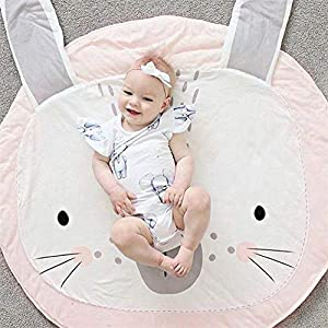 HOUTBY Cute Cartoon Round Carpet Rug Baby Loves Playmat Kid Photograph Background Nursery Kids Room Decoration, Pink Bunny