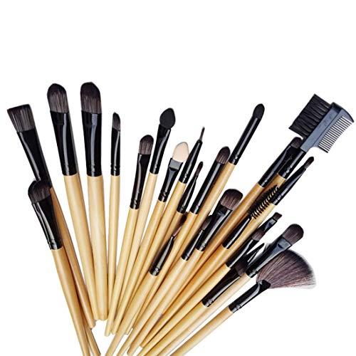 Qiuge Tragen PU-Leder-Kasten + 32 PCS Holz Farbe Griff Make-up-Pinsel-Set Beauty Kit
