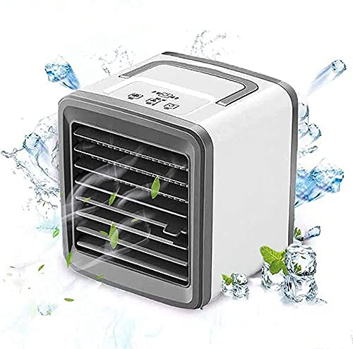 Air space cooler Portable Air Conditioner Fan, Personal Evaporative Quiet Air Cooler, Mini USB Desktop Cooling Fan with 2 Speeds & 7 Colors LED Lights for Home, Office, Car/Rechargeable-Rechargeable A