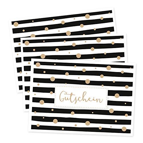 3er Set Gutscheine neutral, modern, mit gold, Geschenkgutschein, Gutscheinkarte für Sie oder für Ihn, Geldgeschenke zum Geburtstag, Jahrestag, Muttertag, Ostern, Weihnachten