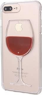 Rihan 3D Design Flowing Liquid Red Wine Transparent Plastic Case for iPhone 7 Plus iPhone 8 Plus (Wine Glass)