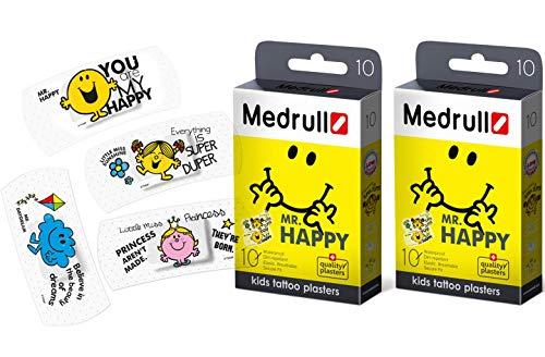 Medrull Pflaster für Kinder Mr HAPPY 2 Boxen Bunt Tattoo (20 Strips)