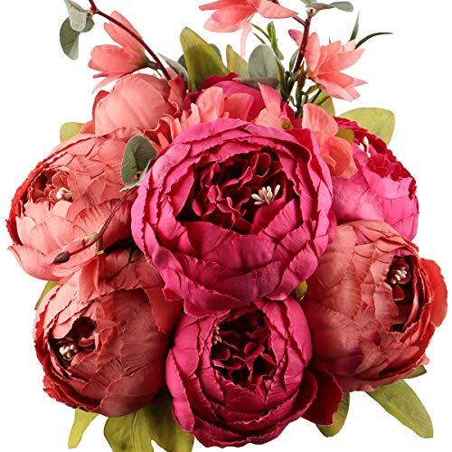 Ksnnrsng Flores Seda Peonía Artificiales para Boda Nupcial Partido Hogar Oficina de la Decoración de DIY (Nuevo Rojo)