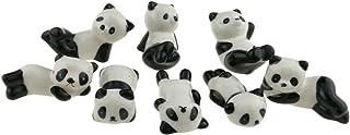 Winterworm - Juego de 8 soportes de cerámica para palillos chinos, cucharas, tenedores o cuchillos con diseño de panda, colores blanco y negro