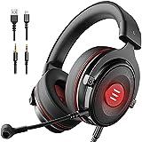 EKSA Gaming Headset für PC, PS5, PS4, Xbox One, USB Headset mit Noise Cancelling Mikrofon, 7,1 Surround Sound, Gaming Kopfhörer für MAC Laptop IPad Smartphone (Schwarz)