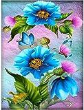 EDLSYDIY Diamante Pintura Punto de Cruz Kits de Punto de Cruz 5D Taladro Completo 40 * 50 cm Flor Mariposa Bordado de Diamantes Mosaico Diamantes de imitación imágenes decoración del hogar(16 * 20)