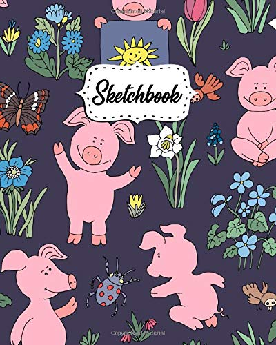 Sketchbook: Floral Workbook and Notebook for Drawing, Sketching, Painting, Writing, Class, Work or Home Use - Piggy, Butterflies Pattern