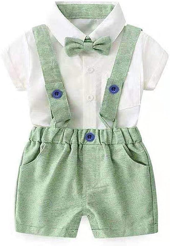 Baby Jungen Neugeborene Gentleman Smoking Anzug Kurzarm Strampler Bodysuit + Hosenträger Shorts + Fliege 3pcs Sommer Outfit Geburtstag Hochzeit Kleidung Set