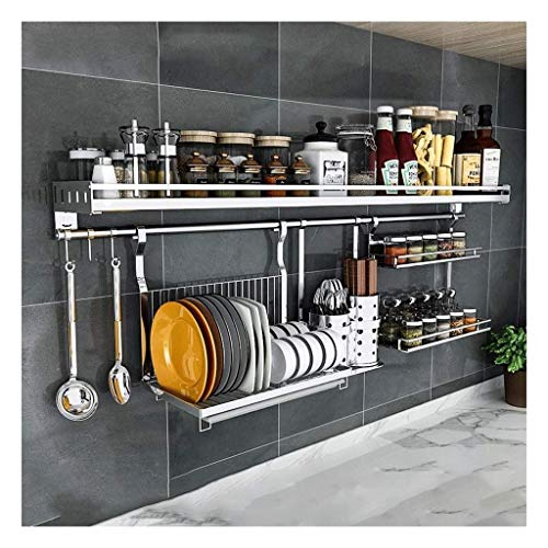 Kitchen shelf Kitchen Shelves Wall Mounted Kitchen Storage Wall Bracket Stainless Steel with Adjustable Hooks Spice Rack 2 Layer Storage Rack
