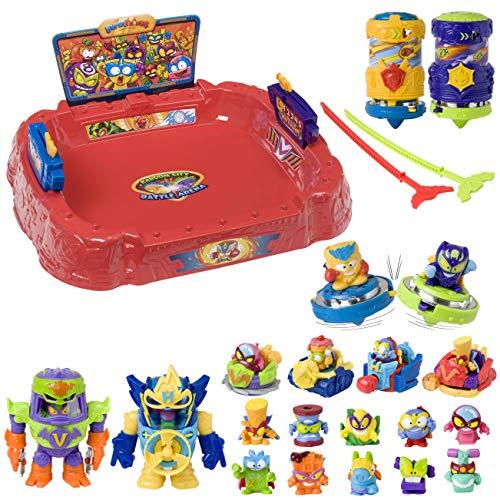 SuperThings Power Machines - Battle Spinners Arena y Pack Sorpresa 16 Sets | Contiene Battle Arena, 10 Sobres One Pack, 4 Power Jet y 2 PowerBot | Juguetes y Regalos para Niños Cumpleaños