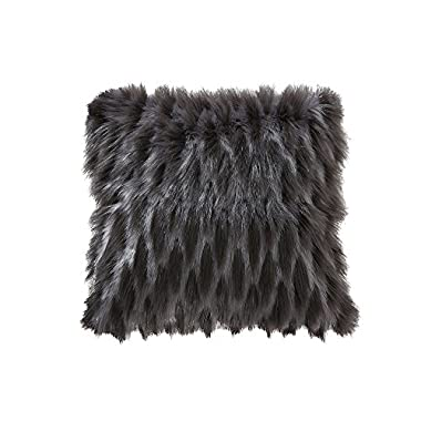 Ojia Deluxe Home Decorative Super Soft Plush Mongolian Faux Fur Two Colors Throw Pillow Cover Cushion Case (18 x 18 Inch, Dark Grey and Light Grey)