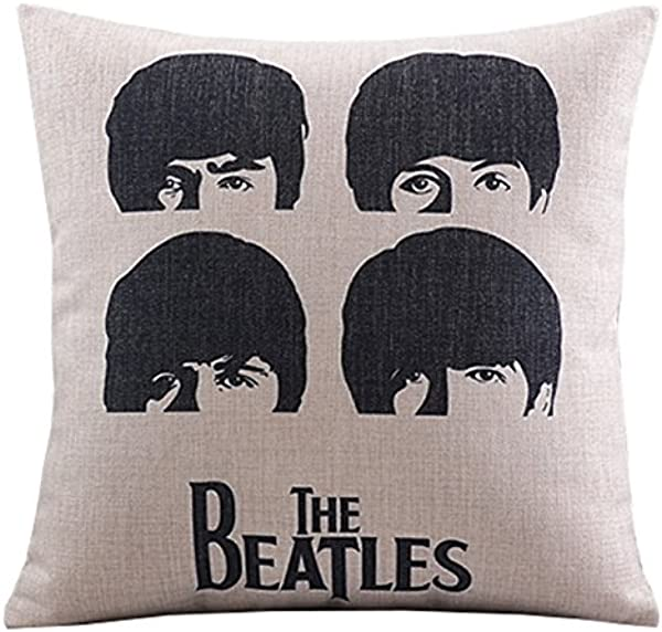 UOOPOO Cotton Linen Decorative Pillowcase Throw Pillow Cushion Cover The Beatles Head Square 18