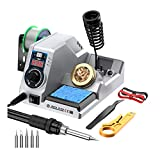 JIAHCN Soldering Station Soldering Iron Kit Digital Soldering Stations Solder Station with Soldering Flux Tip Cleaner for Electronics, Stained Glass, Jewelry Making, Guitar Repair, Computer Repair
