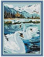 クロスステッチ大人、初心者11ctプレプリントパターン白鳥の湖40x50cmDIYスタンプ済み刺繍ツールキットホームの装飾手芸い贈り物40x50cm(フレームがない )