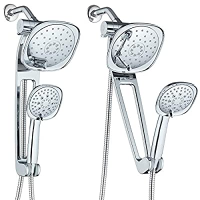 """AQUABAR High Pressure Square 3-way Luxury Spa Combo System with Adjustable 18"""" Extension Arm for Easy Reach & Mobility - Use 7.5"""" Rain & Handheld Shower Head Separately or Together/All-Chrome Finish"""