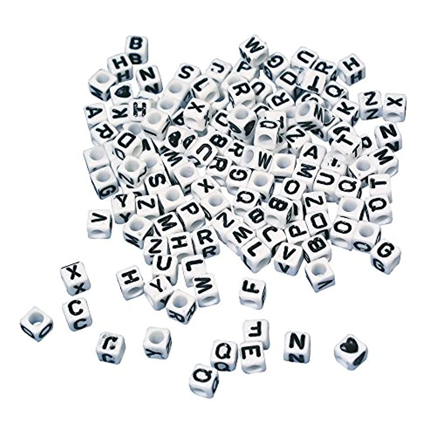 Rayher Plastic Beads with Letters, White/Black, 14.7 x 10.5 x 3 cm