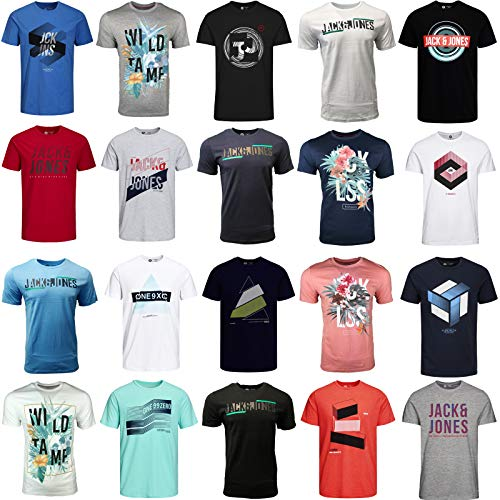 JACK & JONES T Shirt Herren 3er Mix Rundhals Tee Baumwolle (M, 3er Mix)