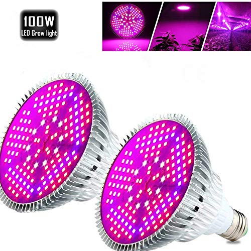 [Pack of 2]100W Led Plant Grow Light Bulb, Full Spectrum 150 LEDs Indoor Plants Growing Light Bulb Lamp for Vegetables Greenhouse and Hydroponic, E26 E27 Base Grow Light Bulbs, AC 85~265V