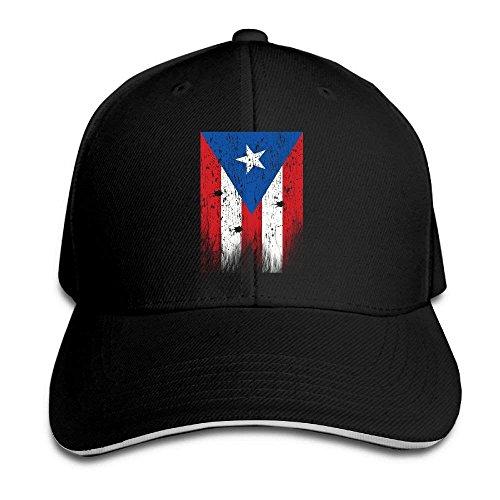 IMERIOi Sandwich Cap Vintage Used-Look Rico Flag Durable Baseball Cap Hats Adjustable Peaked Trucker Cap Black