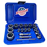 Get ROCKETSOCKET | 18 Piece Extraction Socket Tool Set | ¼ in. and ⅜ in. Drive | Made in USA Just for $84.99