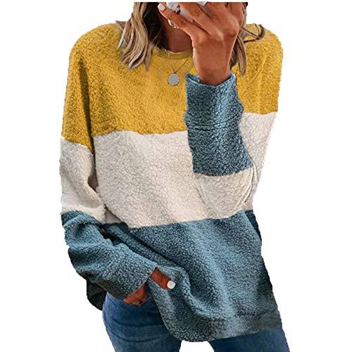 Herbst Und Winter Damen New Plush Stitching Kontrastfarbe Loose Coat Sweater Frauen