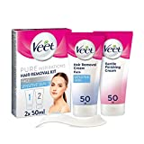 Veet Pure Inspirations Face Hair Removal Kit, with Hair Removal Cream and Finishing Cream, 2 x 50 ml