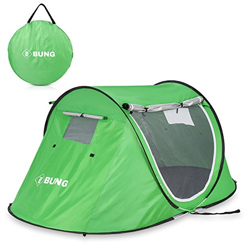 Ebung Pop Up Camping Tent – Compact Instant Tent for Casual Camping – Weekender Camping Tent for Two People – Spacious & Breathable – Easy to Store & Carry – Double Zippered Doors & Windows