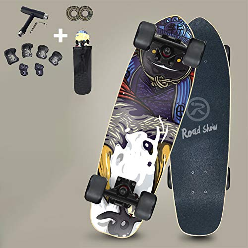 VOMI Hignful Skateboard Kids Anfänger Cruiser Carving Surfskate Deluxe 7-Lagiges Kanadisches Ahorn-Skateboard Für Einsteiger ABEC-11 Kugellager Penny Board Street Longboard Kleine Fish Board,b