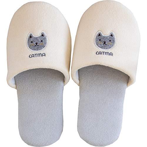 オカ(OKA) スリッパ アイボリー 足のサイズ 約25cm キャットマ6 (ネコ 猫)