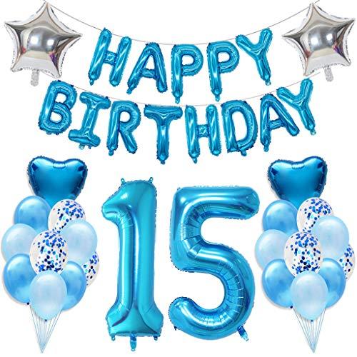 Ouceanwin 15 Cumpleaños Decoraciones Azul, Gigante Helio Globos Número 15, Bandera de Globos Happy Birthday, Globos de Confeti de Latex, 15 años Fiesta de Cumpleaños Kit para Niño Niños