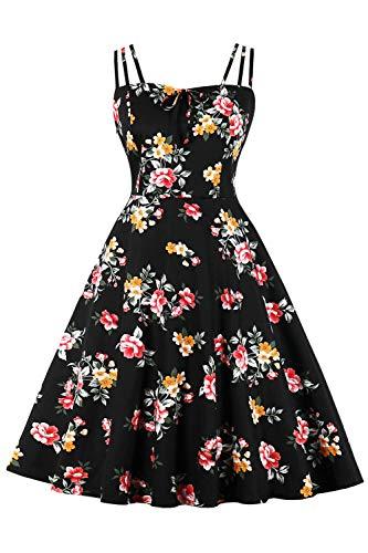 MisShow Elegant Rockabilly Kleider Damen Blumen Sommerkleid Volant Kleid mit Traeger Blumen 6# 4XL