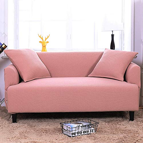 HXTSWGS Stretch Sofabezug Sofa-Überwürfe,tretch Sofa Covers, 3 Seater Couch Covers for Living Room Sofa Slipcovers Furniture Covers with Elastic Bottom-Deep pink_90-140cm