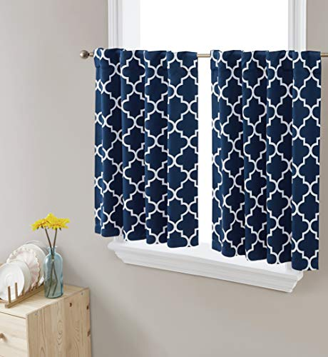 HLC.ME Lattice Print Thermal Insulated Blackout Decorative Back Tab Rod Pocket Tailored Window Curtain Tiers for Kitchen, Bathroom, Basement and Small Windows - Set of 2, 36 W x 36 L, Navy Blue