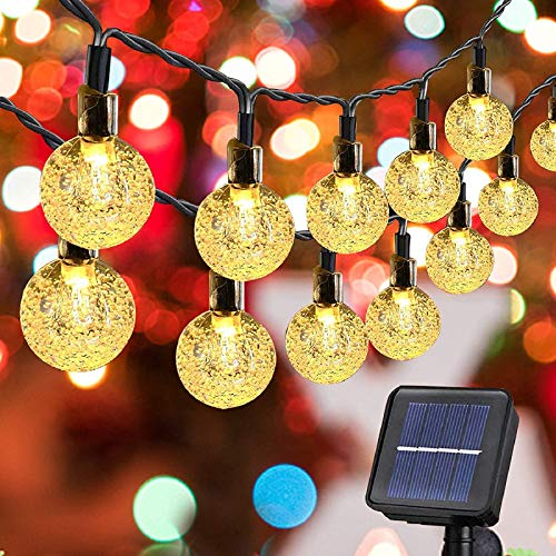 Solar Crystal Ball Fairy String Lights 20ft 30 LED Globe Waterproof Outdoor String Lights Solar Powered Globe Fairy String Lights for Outside Garden Yard, Home Landscape Halloween Christmas