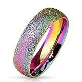 Bungsa® 60 (19.1) Regenbogen Ring sandgestrahlt Diamantoptik Edelstahl Frauen & Männer 49-70 (Ring...