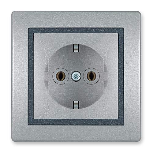 ALING-CONEL | PRESTIGE-Line | Unterputz-Steckdose mit | Schutzkontakt | VDE-zertifiziert | für Installationsdose ø 60mm | 16AX/250V~ | inkl.Rahmen (komplett) | Silber/Graphit/Silber