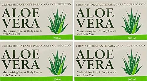 Bionatural Aloe Vera Island Crema Hidratante Cara y Cuerpo - 200 ml pack 4 unidades