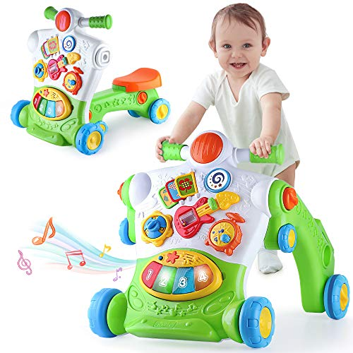 iPlay, iLearn 3 in 1 Baby Walker for Boys Girls, Sit to Stand up Learning Walkers, Toddler Push Walking Toys, Infant Musical Activity Center, Birthday Gift for 6 9 12 18 24 Months, 1 2 Years Old Child