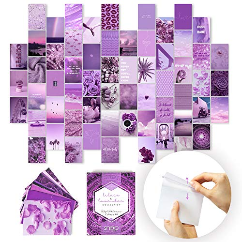 SNAP Wall Art, PEEL-N-STICK Photo Wall Collage Kit Aesthetic Pictures. 60x 4x6 Lilacs & Lavender Prints for Pink and Purple Picture Wall. Teen Room Decor, VSCO Trendy Room Decor Photos, Boho Decor
