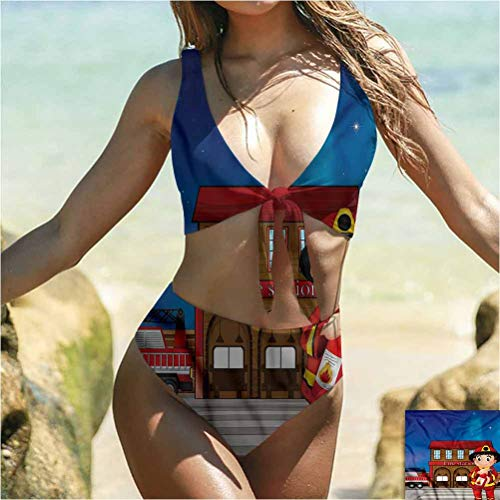 prunushome Fireman Womens Adjustable Front Knot Swimsuit Fire Station Extinguisher