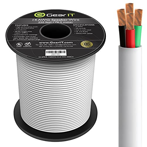 GearIT Pro Series 14 Gauge 4-Conductor Speaker Wire (250 Feet / 76 Meters) 14 AWG OFC (99.9% Oxygen Free Copper) Speaker Wire CL2 Rated for in-Wall Speaker Cable, White