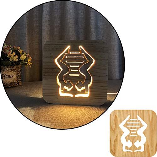ZEwe La Yoga 3D Mueve la lámpara de Mesa Blanca cálida Tallada de Madera, lámpara de Noche 2.5W, lámpara de vivero, decoración del hogar o Regalos para niños y Adultos, Sala de Estar de Dormitorio