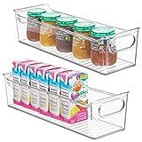 mDesign Juego de 2 cestas organizadoras para cuarto de bebé – Contenedor plástico grande con prácticas asas y sin tapa – Caja para juguetes o pañales en plástico libre de BPA – transparente