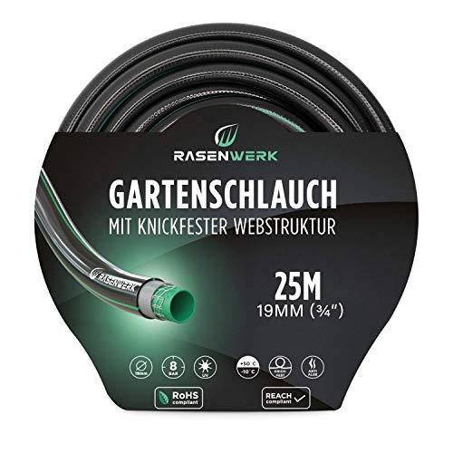 RASENWERK® - Gartenschlauch mit knickfester Webstruktur - Formstabil und flexibel - Gewebeschlauch - Wasserschlauch - Schlauch mit 24 bar Berstdruck - 3/4 Zoll 25m