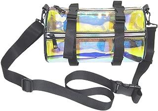 FENICAL Clear Plastic Shoulder Bag Adjustable Transparent Cylinder Bag Purse Crossbody Bag Handbag