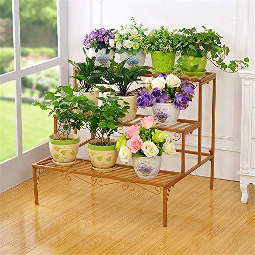 LITING Metalen Bloemenstandaard Plantenstandaard Bloemenhouder Tuindecoratie Bloemendisplay Bloempot Opbergrek Voor Binnen Buiten Tuin (Kleur : Goud, Maat : Een Grootte)