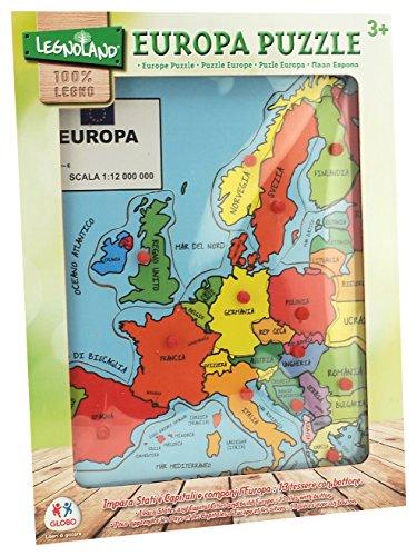 Globo Globo–3761530x 40x 0,8cm Legnoland Europa Puzzle in Legno con Bottoni