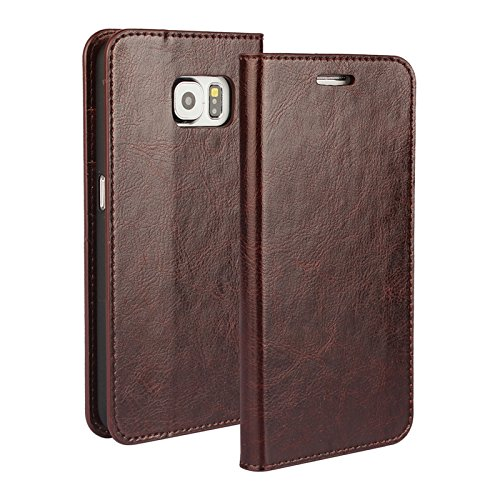 """Galaxy S6 Wallet Case, Jaorty Genuine Leather Folio Flip Case Cover Book Design with Kickstand Feature with Card Slots/Cash Compartment for Samsung Galaxy S6 (5.1"""") - Dark Brown"""