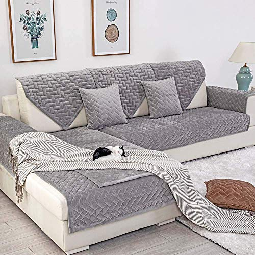 Deep Dream Sofa Slipcover, Velvet Sectional Sofa Covers Furniture Protector Anti-Slip Couch Covers for Dogs Cats Kids 28 x 82 Inch - Gray (Sold by Piece/Not All Set)