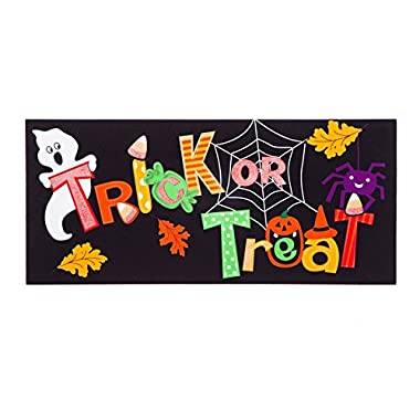 Evergreen Trick or Treat Decorative Mat Insert, 10 x 22 inches